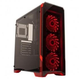 GABINETE PC GAMER ACRILICO NOGA NG-8609 CON FUENTE 600W COOLER COLOR ROJO
