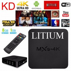 SMART TV LITIUM MXQ 4K BOX SMARTER 4K QUAD CORE 1GB RAM 8GB