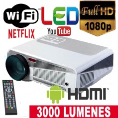 PROYECTOR LED 86+ 3000 LUMENES PORTATIL LED HDMI FULL HD VGA US ANDROID 200 PULGADAS