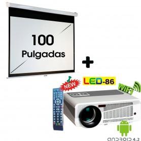 KIT PROYECTOR + PANTALLA 100 PULGADAS LED 86+ 3000 LUMENES PORTATIL LED HDMI FULL HD VGA US ANDROID