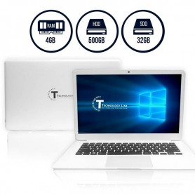 "NOTEBOOK SLIM INTEL 14"" HD LED SSD 32GB 500GB DUAL CORE N3350 TECHNOLOGY LINE SIMIL MAC"