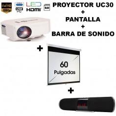 KIT PROYECTOR PORTATIL UC30 LED + PANTALLA 60 PULGADAS + BARRA DE SONIDO UC50