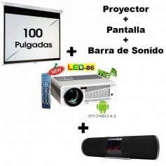 KIT PROYECTOR + PANTALLA 100 PULGADAS LED 86+ 3000 LUMENES PORTATIL LED HDMI FULL HD VGA US ANDROID + BARRA DE SONIDO UC50