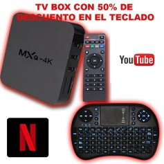 SMART TV LITIUM MXQ 4K BOX SMARTER 4K QUAD CORE 1GB RAM 8GB + TECLADO KOLKE INALAMBRICO