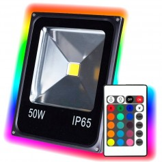 REFLECTOR LED RGB 50W ALUMINIO INTERIOR REGULABLE Y BAJO CONSUMO IP65 SOPORTE REGULABLE
