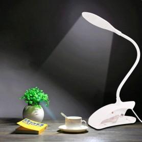 LAMPARA VELADOR FLEXIBLE LUZ LED CON BROCHE DE LECTURA CLIP