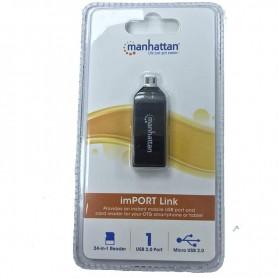 LECTOR DE TARJETA OTG MICRO USB A USB HEMBRA MANHATTAN