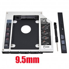 CADDY SEGUNDO DISCO NOTEBOOK HDD SATA O SSD UNIVERSAL 9,5MM