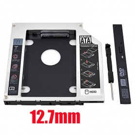 CADDY SEGUNDO DISCO NOTEBOOK HDD SATA O SSD UNIVERSAL 12,7MM