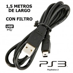 CABLE JOYSTICK PS3 CARGA DUALSHOCK 3 MINI USB C/ FILTRO !!!