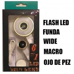 LENTE CELULAR 6 EN 1 LUZ LED MACRO OJO PEZ SELFIE PROFESIONAL FLASH WIDE