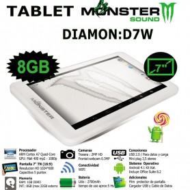 TABLET MONSTER DIAMON D7W QUAD CORE 1GB RAM 8GB BLANCA
