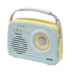 RADIO SPICA SP100 RETRO AM/FM BT USB BATERIA USB BATERIA INTERNA CELESTE