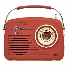 RADIO SPICA SP100R RETRO AM/FM BT USB BATERIA USB BATERIA INTERNA ROJO