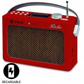 RADIO DISEÑO RETRO AM Y FM BLUETOOTH USB SPICA SP-220 VINTAGE CON BATERIA RECARGABLE