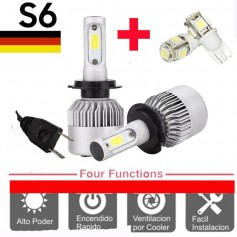 KIT LED CREE S6 COOLER H7 6TA GENERACION 16000LM + 2 LED REGALO