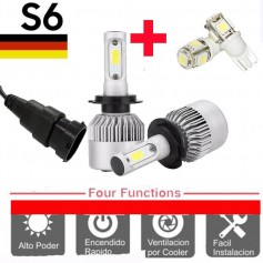KIT LED CREE S6 COOLER H8 H9 H11 6TA GENERACION 16000LM + 2 LED REGALO