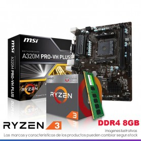 COMBO ACTUALIZACION AMD RYZEN 3 2200 3.7GHZ 8GB DDR4 RAM MOTHER A320M-PRO HDMI AM4