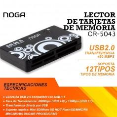 LECTOR DE MEMORIAS NOGANET TARJETAS SD M2 MS COMPACT FLASH CR-5043