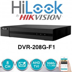 HILOOK DVR-208G-F1 DVR TURBO HD 8 CANALES 1080P 720P LITE 1 SATA BY HIKVISION