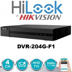 HILOOK DVR-204G-F1 DVR TURBO HD 4 CANALES 1080P 720P LITE 1 SATA BY HIKVISION