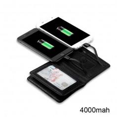 POWER BANK BILLETERA CUERO AZUL 4000MAH MICRO USB Y LIGHTNING IPHONE SAMSUNG