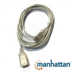 CABLE ALARGUE USB 2.0 4.5 Mts MANHATTAN MALLADO TRANSPARENTE
