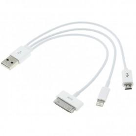 CABLE CARGA CELULAR 3 EN 1 MINI USB IPHONE 3 4 5 6 7 IPAD SAMSUNG