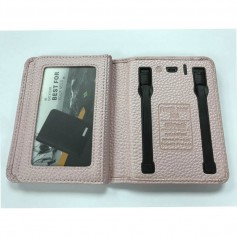 POWER BANK BILLETERA CUERO ROSA 4000MAH MICRO USB Y LIGHTNING IPHONE SAMSUNG