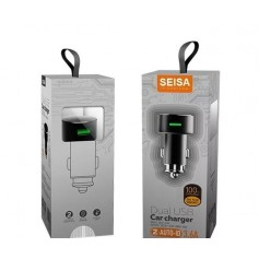 CARGADOR AUTO USB 2 PUERTOS 5V 3.6A 12V 24V 18W SEISA CON CABLE MICRO USB SM-SC308