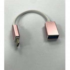 CABLE ADAPTADOR METALICO TYPE C A USB 3.1 HEMBRA OTG MAC MOTOROLA SAMSUNG ROSA
